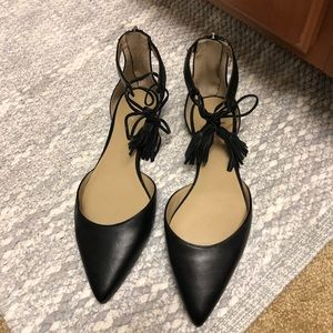 Black Leather Ann Taylor Tassel Flats 8.5